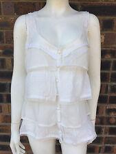 Crossroads Ladies Ruffled Top Antique White Size 18