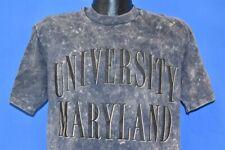 vtg 80s UNIVERSITY OF MARYLAND ACID WASH TIE DYE BLACK PUFFY t-shirt COLLEGE L