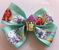 "Girls Hair Bow 4"" Wide Rapunzel Tangled Ribbon Mint Grosgrain Alligator Clip"