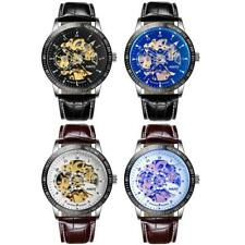 NARY Mens Automatic Mechanical Watch Analog Skeleton Dial Leather Wrist Watches