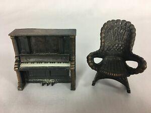 Vtg. Durham Industries Dollhouse Metal Miniatures Upright Piano & Rocking Chair