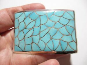 MAGNIFICENT VINTAGE ZUNI STERLING INLAY TURQUOISE BELT BUCKLE-DEADLY COLOR-NR!