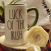 "Rae Dunn St Patrick's Day ""Luck Of The Irish"" Stein Mug Green Inside & Handle"