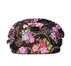 Betsey Johnson New York Black Makeup cosmetic bag Polyester Zip Ruffles Roses
