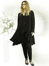 ✿PoCo DeSiGn°✿ LAGENLOOK ♥ Tunika Jacke Kurz-Mantel Volant schwarz Gothic L-XXXL