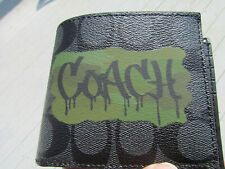 NEW $175 COACH wallet 37333 graffiti signature leather ID charcoal black 3 in 1