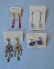Costume Jewellery 4 Pairs of Pierced Earrings Red Purple Dangle Free P&P