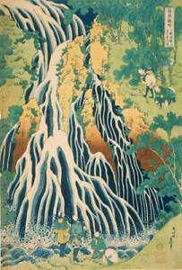 Katsushika Hokusai Pilgrims at Kirifuri Waterfall on Mount Giclee Canvas Print