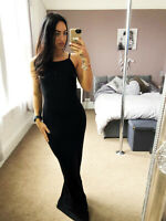 Boohoo Black Lauren Tie Back Maxi Dress Soft Stretchy UK Size 8-16