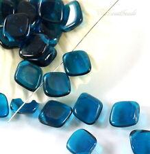 14 Diamond Drop Beads, 14x12mm, Capri Blue, Czech Glass Beads, 14 Beads