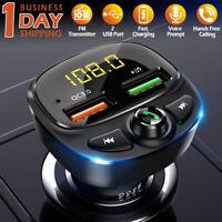 Wireless Bluetooth 5.0 FM Transmitter QC3.0 Hands-free Radio AUX Adapter USB Car