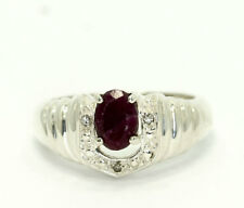 Natural Round Diamond & Oval Ruby Sterling Silver Horseshoe Style Band Ring SZ 7