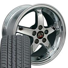 "OEW Fits 17"" Chrome Cobra R Wheels & Tires 17x9 Rims Mustang"