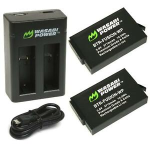 Wasabi Power Battery (2-Pack) & Dual USB Charger for GoPro Fusion & ASBBA-001