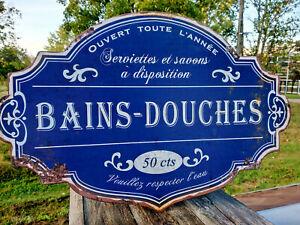Plaque métal Bains-douches veuillez respecter l'eau... 50x34cm,neuve,idée cadeau