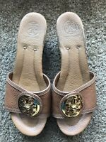 TORY BURCH Brown leather gold logo wedge sandals size 8M