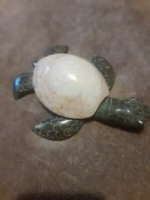 """Unique Hand Carved Marble Stone White Sea Tan Figurine Carving 5"""" Long"""