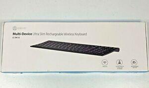 iClever Ultra Slim Full Size Rechargeable Wireless Keyboard Model IC-BK10 Black