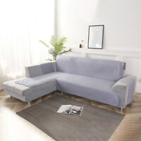 Stretch Couch Cushion L-shape 1/2/3/4 Seats Sofa Cover Corner Slipcover Instal