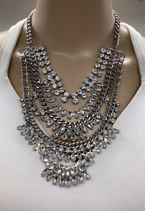 WHITE HOUSE BLACK MARKET CRYSTAL CASCADING NECKLACE NWTS