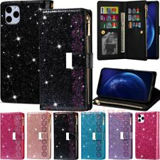 For iPhone 12 Pro Max 11 XR SE 6 7 8 Plus Glitter Leather Card Wallet Case Cover