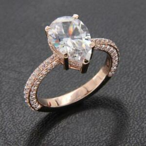 3Ct Pear Cut Diamond Solitaire Engagement Ring For Women's 14k Rose Gold Finish