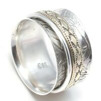 Solid 925 Sterling Silver Spinner Ring Meditation Ring Statement Ring Size KK29