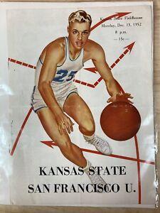1952 Kansas State vs San Francisco U. Basketball Vtg Program Magazine