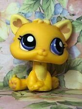 🐱 Littlest Pet Shop Baby Kitten Cat Orange Purple Eyes #1744 Bow Teddy Bear 🐱