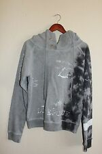 Mens Diesel Pullover Hoodie Sweater Large Gray Cotton Hooded Graphic Paint