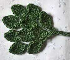 Foxy Flowers 10 Hand Crochet Applique Cypress Green Leaves - 4cm x 3cm