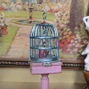 Antique Dollhouse BIRD CAGE Vtg Miniature Pet Birdcage Blue Soft Metal GERMANY
