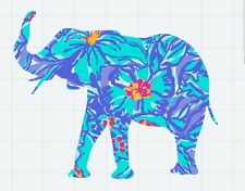 """Elephant in Blue Floral Yeti/Tumbler Decal *** 3"""" X 3"""" ***"""