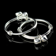 2pcs Charms 925 Sterling Silver Baby Kids Bangle Bells Bracelet Jewellery Gift N Smooth Round