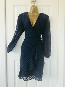 M&S Per Una £45 Navy Spotted Dobby Frill Wrap Polkadot Office Evening Mini Dress
