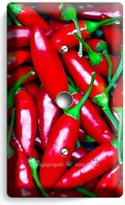 HOT RED CHILI PEPPERS LIGHT DIMMER CABLE WALL PLATE COVER KITCHEN ART HOME DECOR