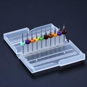 10pcs PCB Carbide Micro Twist Drill Bits Set Jewelry Rotary Tool 0.1mm-1.0mm US