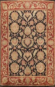 Floral Oriental Agra Hand-knotted Area Rug Traditional Wool Black Carpet 8x11 ft