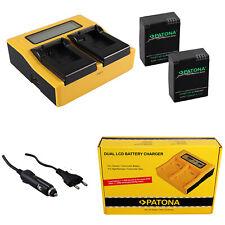 2x Batteria Patona + caricabatteria rapido DUAL LCD per GoPro GOPRO HD HERO 3+