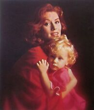 SUZY PARKER model clipping 1960s color photo w/ daughter Revlon model Interns