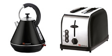 1.8L Cordless Electric Swivel Kettle Two Slice Wide Slot Bread Toaster Set Black