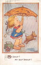 COMIC Vintage OLD Postcard - Young Girl Holding an Umbrella And Walking with Dog