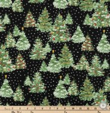 "Christmas Fabric Decorated Pine Trees Snow 100% Cotton 18""x21"" Fat Quarter mask"