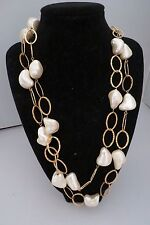 "Nice Faux Pearl and Gold Necklace – 46"" - Substantial!"