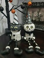 2 Halloween Vintage Style Black Cat Ghost Shelf Sitter Tabletop Decor
