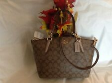 NWT. COACH SIGNATURE METALLIC TRIM SMALL KELSEY F28989 CROSS-BODY HANDBAG F39590