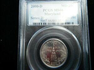 USA QUARTER DOLLAR MARYLAND UNCIRCULATED PCGS MS66