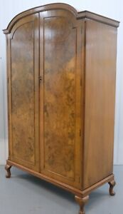 CIRCA 1950'S BURR WALNUT DOUBLE WARDROBE ON DECORATIVE CABRIOLE LEGS