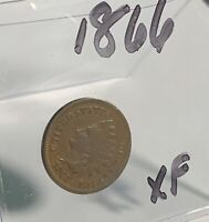 1866 Indian Head Cent Penny- Excellent - Partial LIBERTY (ESTATE SALE ITEM)