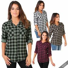 Collared Check Casual Tops & Shirts Plus Size for Women